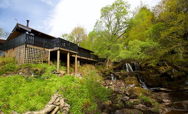 Loch tay waterfall holiday lodge with private hot tub by Log cabins with hot tubs scotland