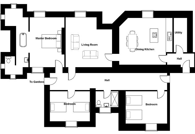 Torrisdale holiday apartment servants quarters floor plan for Servant quarters floor plans
