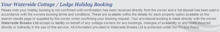 Waterside Breaks - Your Holiday Booking Privacy